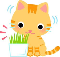 植木鉢に生えた草を食べる猫