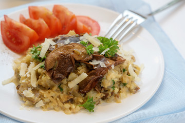 Creamy risotto from cauliflower with porcini mushrooms, vegetarian low carb diet meal with parsley garnish, parmesan cheese and tomatoes on a white plate