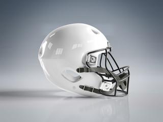 White American football helmet isolated on grey mockup 3D rendering