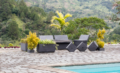 Seats by the pool