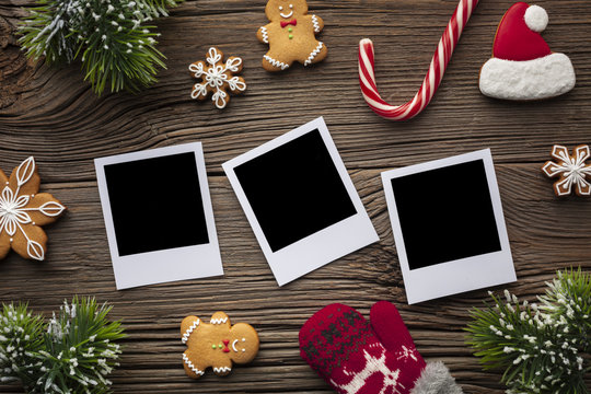 Top view photos with christmas decoration