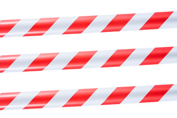 red and white warning tape isolated on white background