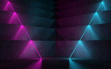 Dark room with colorful neon lights, 3 d
