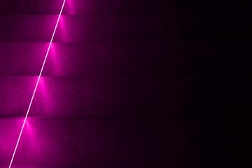 Dark stairs and purple neon light, 3d