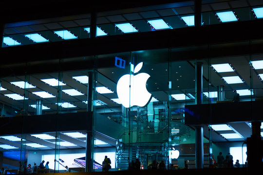 Hong Kong, China - May, 2019: Apple Store in Causeway Bay area. Apple Inc. is an American multinational technology company headquartered in Cupertino, California.