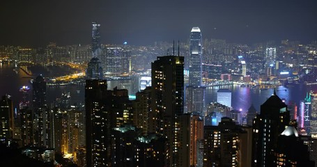 Fotomurales -  Hong Kong city at night