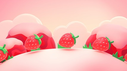 Cartoon strawberry world. 3d rendering picture.