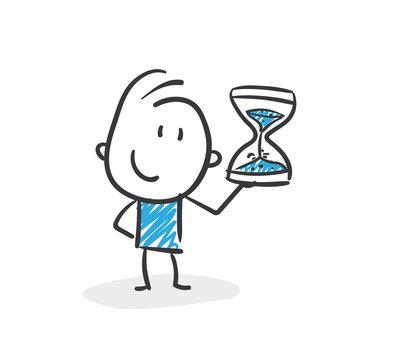 Stickman Blue: Hourglass, Waiting, Countdown. (Nr. 136)