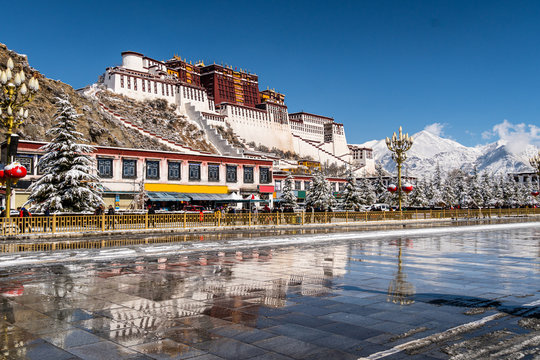 Stunning view of the Potala Palace in Lhasa in Tibetan province of China after a rare snowfall in winter.
