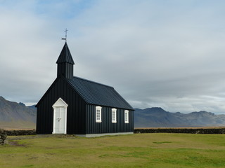 Black Church of Budir on the Snaefellsnes peninsula, Iceland