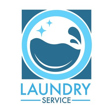 Laundry service logo for professional cleaning company