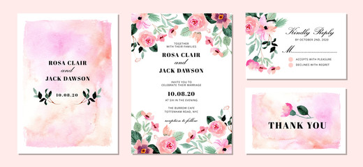 Fototapeta wedding invitation suite with floral and abstract watercolor background obraz