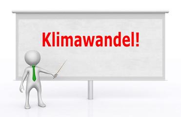 3D Figur vor Bildwand mit dem Wort Klimawandel