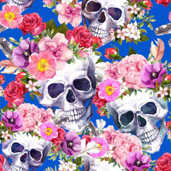 Printed kitchen splashbacks Watercolor Skull Human skulls with flowers, feathers for Day of Death or Halloween. Seamless pattern on blue background. Watercolor