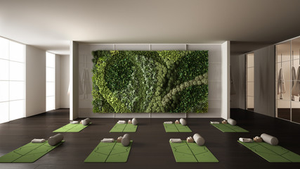 Empty yoga studio interior design, space with mats, hammocks, pillows and accessories, parquet, mirror, vertical garden and big panoramic window, ready for yoga practice, meditation Wall mural