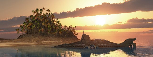 Fantasie Unterseeboot und tropische Insel bei Sonnenuntergang