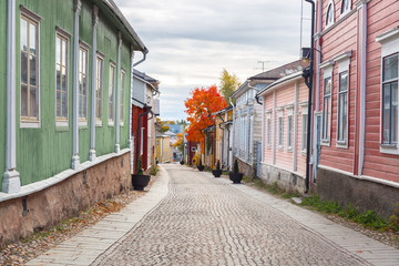 Street in Old town of Porvoo in Finland.