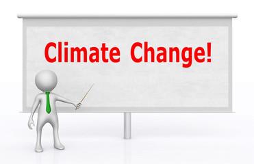 3D Figur vor Bildwand mit den Wörtern Climate Change