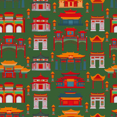 Seamless vector pattern with Chinese temples, gates and buildings on a dark green background