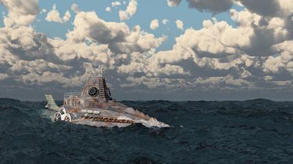 Fantasie Unterseeboot in stürmischer See