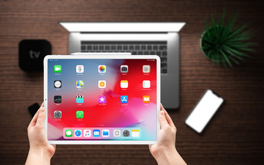Cracow, Poland -  October 10, 2019 :  iPad Pro a new version of the tablet from Apple.