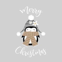 Cute penguin girl with Christmas slogan on grey background. Perfect for tee shirt logo, greeting card, poster, invitation or print design.