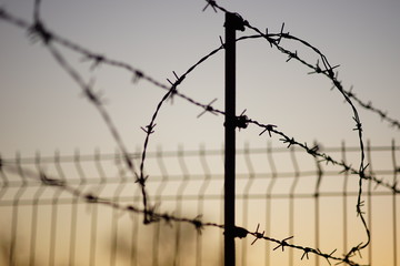 black silhouette of a barbed wire fence in summer evening, pale blue orange sky background.