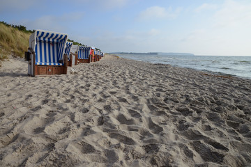Beach chairs on the Baltic Sea beach at Thiessow, Germany