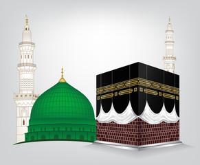 Kaaba Mekkah and Madina Pak Islamic sacred Masjid Al Haram with Masjid e Aqsa