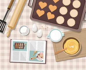 Baking utensils and cooking ingredients for tarts, cookies, dough and pastry. Top view. Vector Illustration