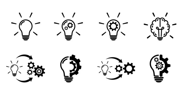 Light bulb icon set on white background.