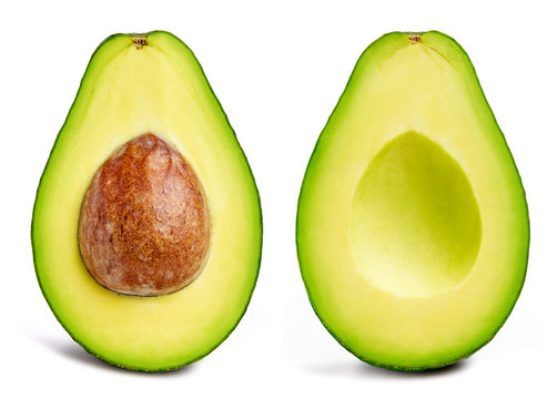 Avocado collection isolated on white. Avocado half Clipping Path. Avocado studio macro shooting