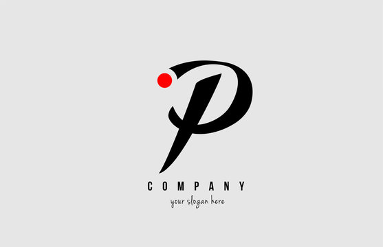 P black and white alphabet letter with red circle for  company logo icon design