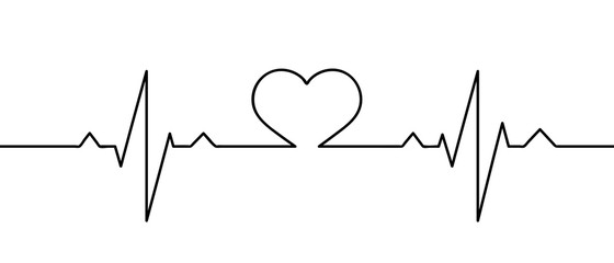 Human heart and rhythm silhouette, single continuous black line. Healthy, medicine. Sketch, outline drawing. Vector illustration