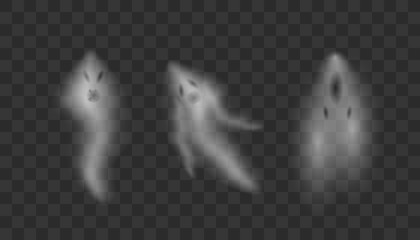 Realistic Ghosts on transparent background.