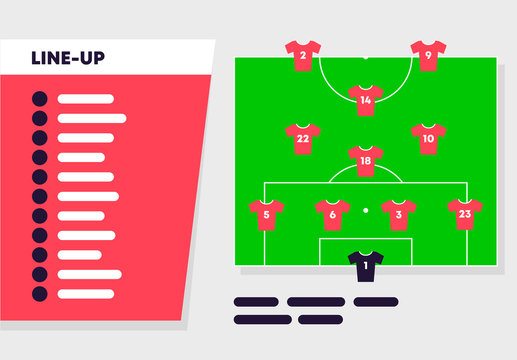 Vector illustration template of the starting lineup of the football club before the match