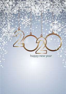 2020 Happy New Year celebrate card with holiday greetings, vector golden hanging text, blue background