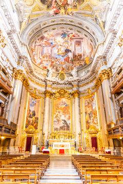 Picturesque interior of church of St. Ignatius of Loyola at Campus Martius