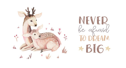 Watercolor little deer baby and mother watercolour bembi cartoon baby nursery. Forest funny young deer illustration. Fawn animal. Mom and baby decor