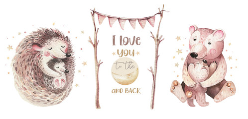 Watercolor Mothers day card - mother hedgehog and bear embrace her child. Little baby and mother watercolour cartoon nursery. Forest funny young hedgehog illustration. Mom and baby shower decor