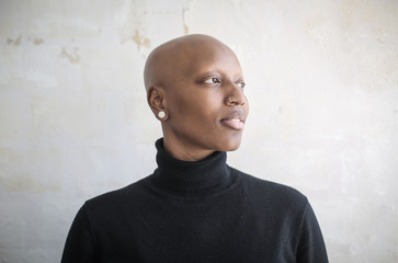 Portrait of a beautiful bald woman