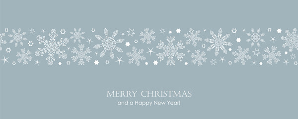 blue christmas card with white seamless pattern snowflakes vector illustration EPS10