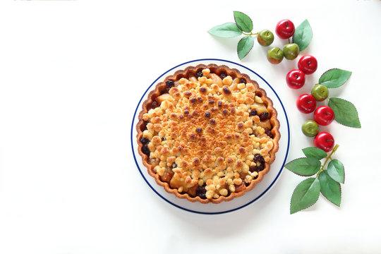 手作り アップルクランブルタルト (造花のリンゴ)