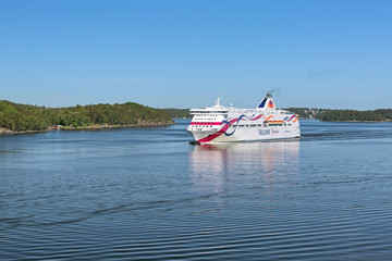 Cruiseferry MS Baltic Queen of Tallink shipping company on June 1, 2018 in Stockholm archipelago, Sweden
