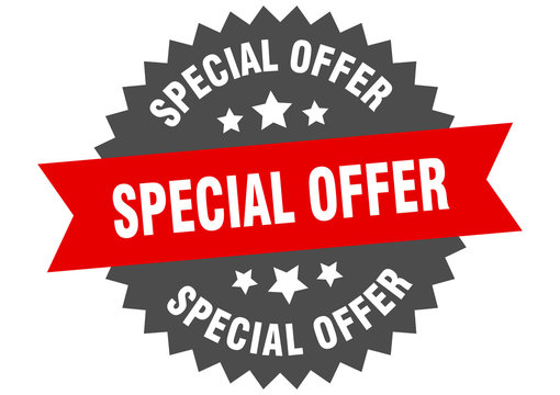 special offer sign. special offer red-black circular band label