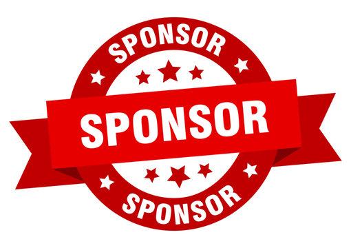 sponsor ribbon. sponsor round red sign. sponsor