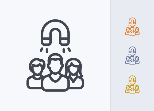 User Group & Magnet - Pastel Stroke Icons