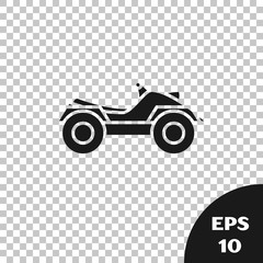 Black All Terrain Vehicle or ATV motorcycle icon isolated on transparent background. Quad bike. Extreme sport. Vector Illustration