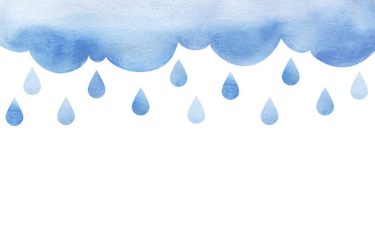 Overcast and rain. Blue rainy clouds. Background cutout cumulus clouds with paper texture. Large raindrops Big lught gradiented blue cloud. Watercolor fill. Page border template. Isolated on white.