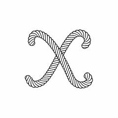 Rope Vector Logo Letter X. X Letter Design Vector